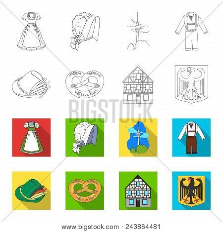 Country Germany Outline, Flat Icons In Set Collection For Design. Germany And Landmark Vector Symbol