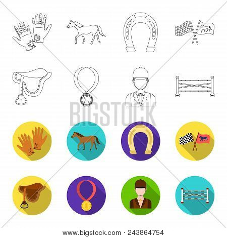 Saddle, Medal, Champion, Winner .hippodrome And Horse Set Collection Icons In Outline, Flat Style Ve