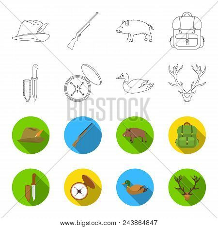 Knife With A Cover, A Duck, A Deer Horn, A Compass With A Lid.hunting Set Collection Icons In Outlin