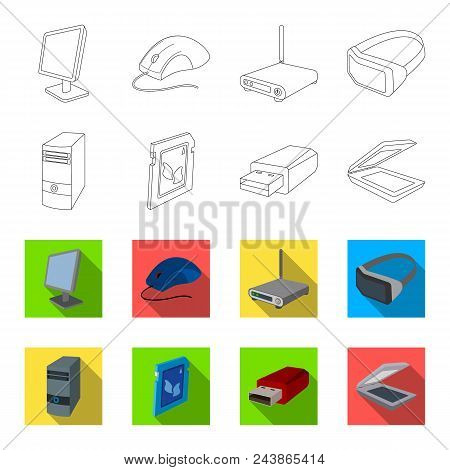 A System Unit, A Flash Drive, A Scanner And A Sd Card. Personal Computer Set Collection Icons In Out