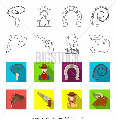 Head Of A Horse, A Bull Head, A Revolver, A Cowboy Girl. Rodeo Set Collection Icons In Outline, Flat