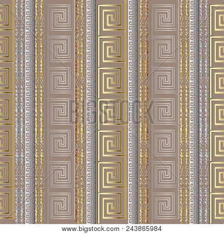 Greek Striped Geometric Seamless Pattern Border Wallpaper With Gold Silver 3d Abstract Grunge Vertic