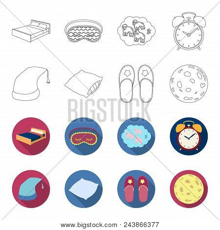 Night Cap, Pillow, Slippers, Moon. Rest And Sleep Set Collection Icons In Outline, Flat Style Vector