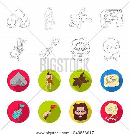 Primitive, Fish, Spear, Torch .stone Age Set Collection Icons In Outline, Flat Style Vector Symbol S