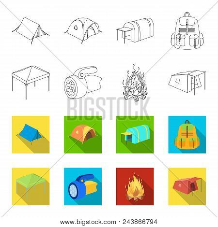 Awning, Fire And Other Tourist Equipment.tent Set Collection Icons In Outline, Flat Style Vector Sym