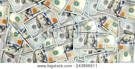 One Hundred Dollars Pile As Background, Background From Dollars.