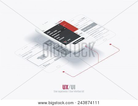 Website Wireframe For Mobile Apps With Links . A Conceptual Mobile Phones With A Mobile App Page. Us