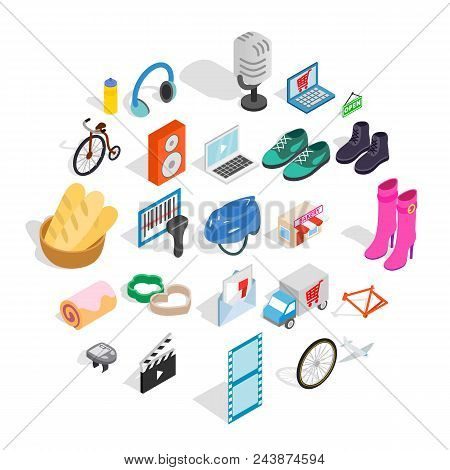 Online Purchases Icons Set. Isometric Set Of 25 Online Purchases Vector Icons For Web Isolated On Wh