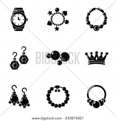 Adornment Icons Set. Simple Set Of 9 Adornment Vector Icons For Web Isolated On White Background