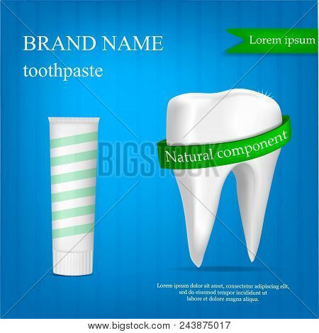 Brand Toothpaste Concept Background. Realistic Illustration Of Brand Toothpaste Vector Concept Backg