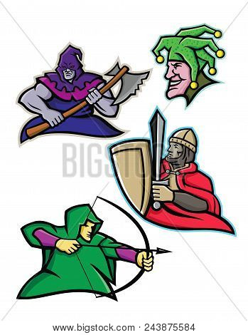 Mascot Icon Illustration Set Of A King Or Royal Medieval Court Persons Or Characters Like The Hooded