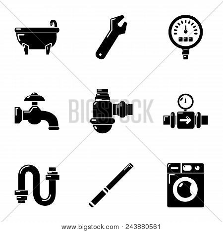 Plumbing Icons Set. Simple Set Of 9 Plumbing Vector Icons For Web Isolated On White Background