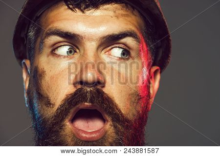Surprised Bearded Man, Construction Worker In Hard Hat. Business, Building, Industry, Technology - B