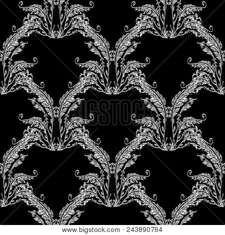 Baroque Embroidery Seamless Pattern. Floral Damask Black Background Wallpaper With White Vintage Gru