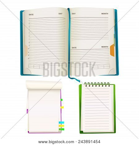 Vector Realistic Opened Notepad Organizer Planners With Blank Paper Sheets, Spiral Binders And Color