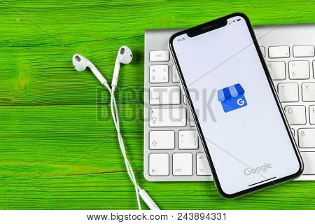 Sankt-petersburg, Russia, June 2, 2018: Google My Business Application Icon On Apple Iphone X Screen