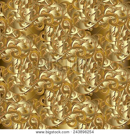 Baroque Seamless Pattern. Golden Floral Damask Background Wallpaper Illustration With 3d Gold Flower