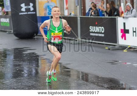 Dnipro, Ukraine - May 20, 2018:runner Up (yhor Porozov) Running During Of The Interipe  Dnipro Half