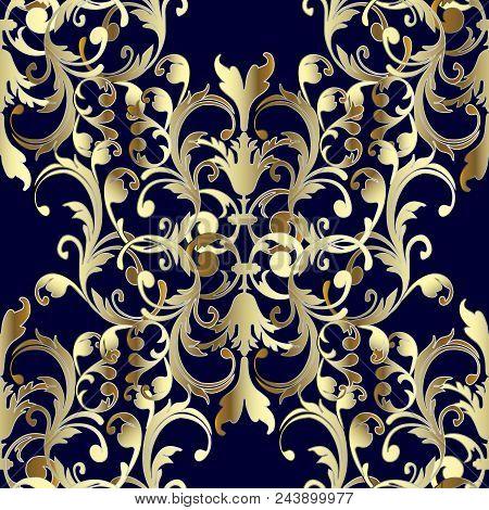 Baroque Seamless Pattern. Floral Damask Dark Blue Background Wallpaper Illustration With Vintage Gol