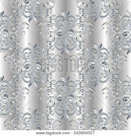 Baroque Seamless Pattern. Floral White Damask Background Wallpaper Illustration With Vintage Silver