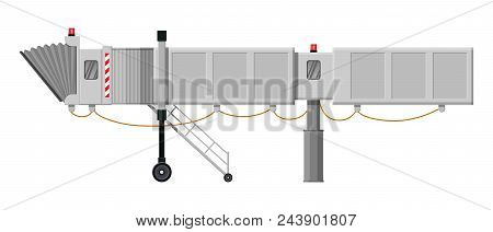 Aero Bridge Or Jetway. Telescopic Ladder For Airport. Ramp, Gate, Aerobridge. Airport Terminal Servi