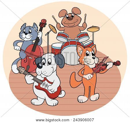 Illustration Of The Quartet Of Animals Playing Music On A Stage