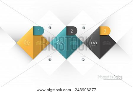 Vector Infographic 3d Label, Template Design. Business Concept, Infograph With 3 Number Options, Ste