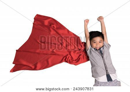 Flying Superhero In Studio, Child Pretend To Be Superhero, Super Hero Kid, Success, Creative And Ima