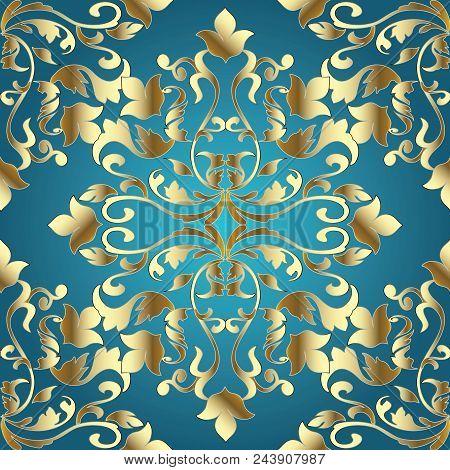 Baroque Damask Seamless Pattern. Blue Vector Background Wallpaper Illustration With Gold Vintage Flo