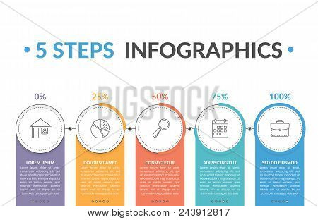 Infographic Template With Five Round Progress Indicators, Workflow, Process Chart, Vector Eps10 Illu