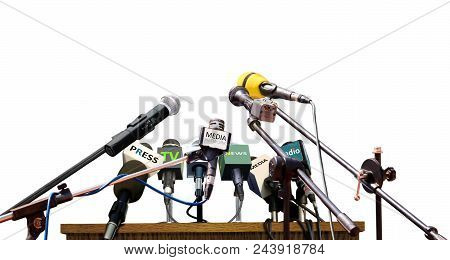 Press Media Conference Microphones On White Background