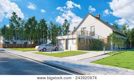House as a house building and home concept for insurance (3D Rendering)