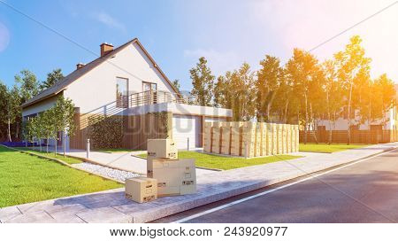 Many moving boxes are mounted outside a house in the garden during a move with a forwarding agency (3D Rendering)