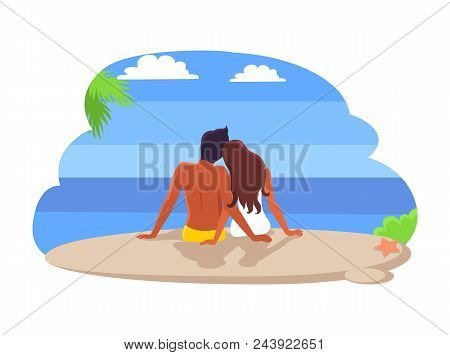 Couple Sitting By Seaside, Summer And Seaside, Calm Relaxation And Cuddles, Palm Leaves And Clouds,