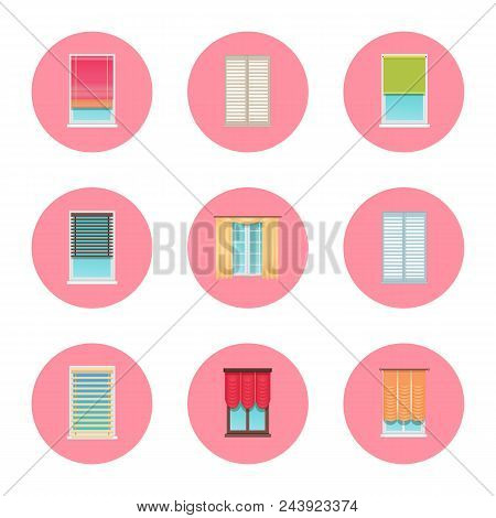 Windows And Curtains Set, Home Interior Collection Of Objects And Jalousie, Circled Icons Set, Home