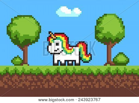 Cheerful Pixel Pony Horse On Cute Green Meadow, Vector Illustration, Green Grass, Pixel Trees And Bu