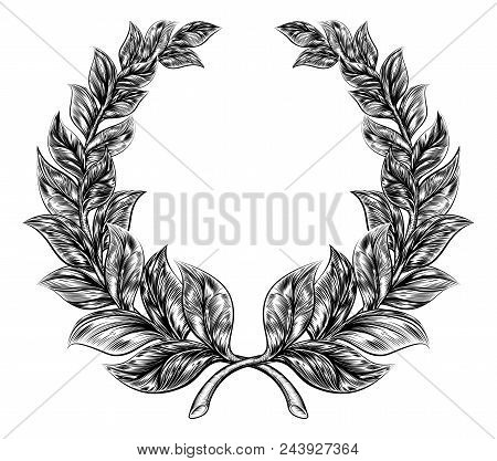 An Original Illustration Of A Laurel Wreath In A Vintage Woodblock Or Woodcut Style