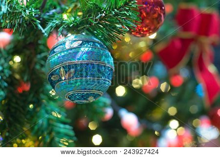 Decor And Bokeh Of Lights From Xmas For Christmas New Year Background