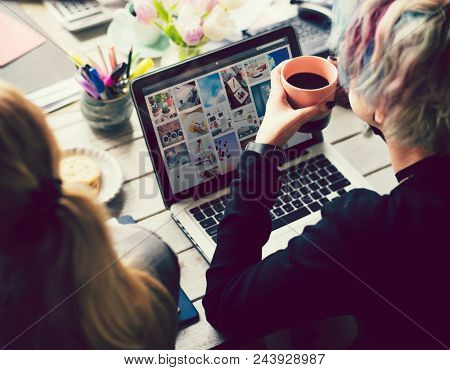 Artsy woman working with social media marketing