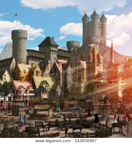 Enchanting View Of A Medieval Fantasy Town With A Marketplace, People, Animals, Many Houses And A To