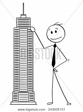 Cartoon Stick Man Drawing Conceptual Illustration Of Businessman Standing With Skyscraper Building M