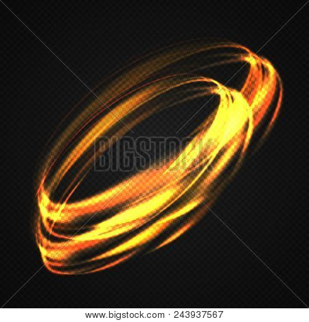 Neon Blurry Circles At Motion . Vector Swirl Trail Effect . Abstract Luminous Rings Slow Shutter Spe