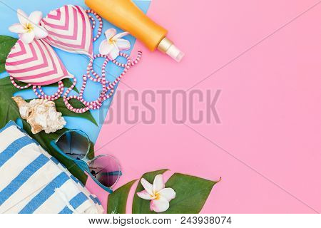 Tropical Top View Summer Holiday Concept Still Life With Monstera Liana, Vine, Palm Leaves On Pink A