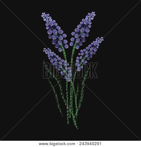 Lavender Flower Embroidered With Purple And Green Stitches On Black Background. Gorgeous Embroidery