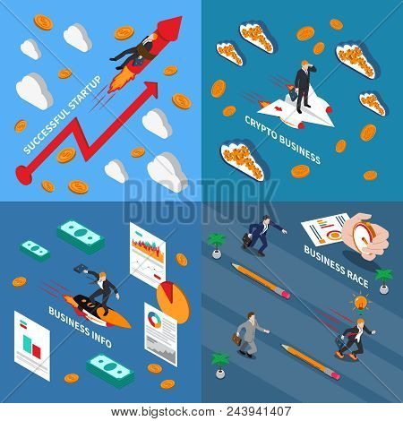 Accelerate Business 2x2 Design Concept  Set Of Business Info Successful Startup Business Race And Cr