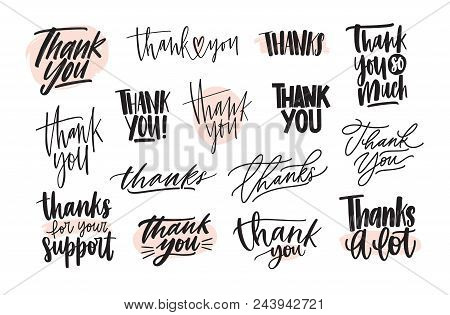 Collection Of Creative Thank You Lettering Compositions Written With Decorative Calligraphic Font. B