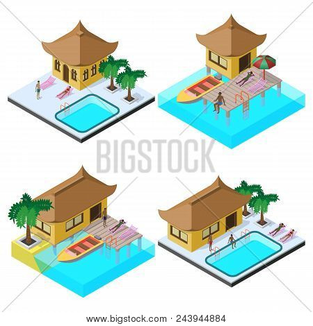 Isometric Vector Image Set With Bungalows, Motorboats, Swimming Pools, Sunbeds, Umbrella, Palm Trees