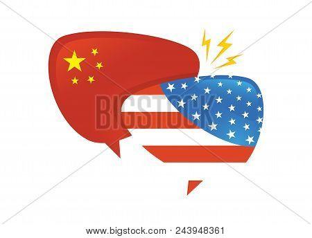 Trade War, America China Tariff Business Global Exchange International. Usa Versus China . Two Speec