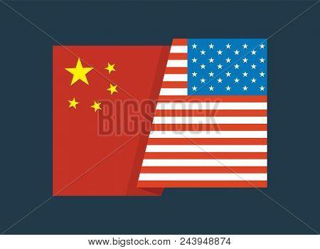 United States Of America Flag And China Flag Together. United States Of America Flag And China Flag