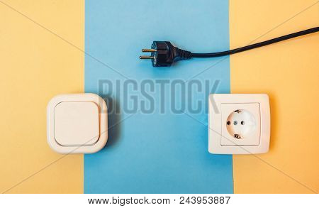 Electrical Outlet, Electrical And Light Switch. Electrical Concept